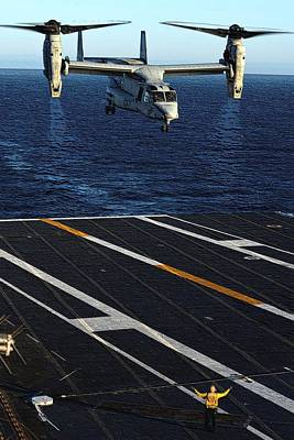 Osprey Mixed Media - Mv 22 Osprey Landing Aboard Uss Nimitz Cvn 68 Pacific Ocean Enhanced by US Navy Raul Moreno Jr - L Brown