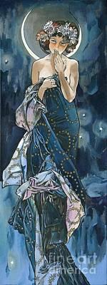 My Acrylic Painting As An Interpretation Of The Famous Artwork Of Alphonse Mucha - Moon - Print by Elena Yakubovich