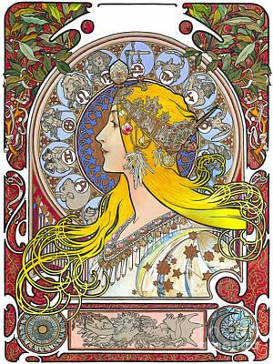 My Acrylic Painting As An Interpretation Of The Famous Artwork Of Alphonse Mucha - Zodiac - Print by Elena Yakubovich
