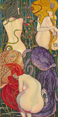 Old Friends Drawing - My Acrylic Painting Inspired By Klimt - Goldfish - Beethoven Frieze - Jurisprudence Final State - by Elena Yakubovich