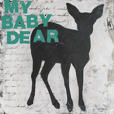 Deer Painting - My Baby Dear - Turquoise by Bonnie Lecat