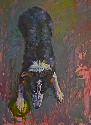 Dog Playing Ball Painting - My Ball by Elaine Hurst