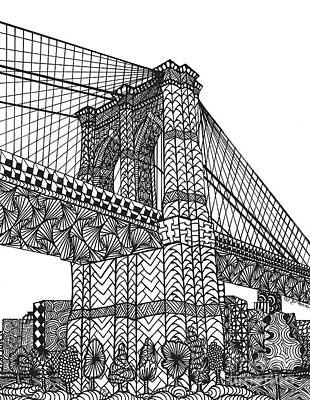 Brooklyn Bridge Drawing - My Beloved Brooklyn Bridge by Dianne Ferrer