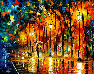My Best Friend - Palette Knife Oil Painting On Canvas By Leonid Afremov Original by Leonid Afremov