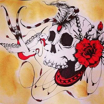 Swallow Mixed Media - My Bloody Valentine  by Nicole  Kindred