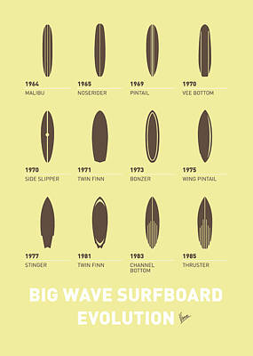 Surfboards Digital Art - My Evolution Surfboards Minimal Poster by Chungkong Art