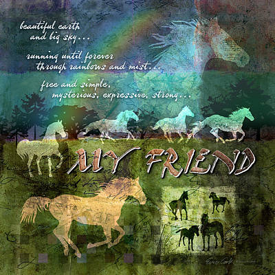 Running Digital Art - My Friend Horses by Evie Cook