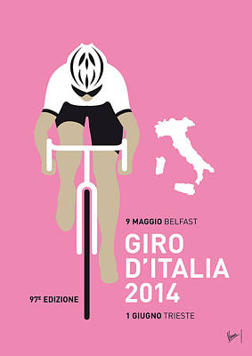 Cycling Digital Art - My Giro D Italia Minimal Poster 2014 by Chungkong Art