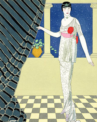 Evening Dress Painting - My Guests Have Not Arrived by Georges Barbier