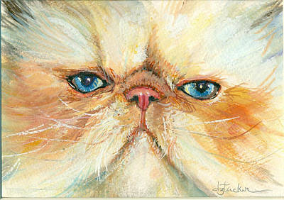 Humorous Cat Painting - My Happy Face by Donna Tucker