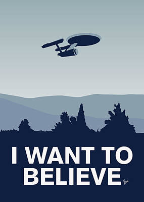 Believe Digital Art - My I Want To Believe Minimal Poster-enterprice by Chungkong Art