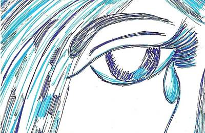 Eye Lashes Drawing - My Last Tear by Angie Oviedo