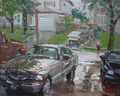 Town Painting - My Lincoln In The Rain by Ylli Haruni