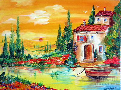 Italy Farmhouse Painting - My Little Tuscany Home By The River by Roberto Gagliardi