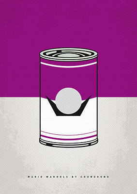 Donkey Digital Art - My Mario Warhols Minimal Can Poster-waluigi by Chungkong Art