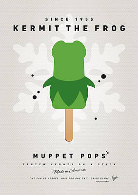 Amphibians Digital Art - My Muppet Ice Pop - Kermit by Chungkong Art