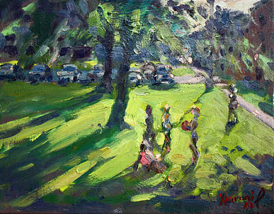Neighborhood Painting - My Neighborhood Front Yard by Ylli Haruni