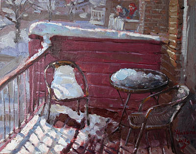 Chairs Painting - The Neighbors by Ylli Haruni