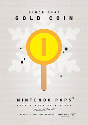 Donkey Digital Art - My Nintendo Ice Pop - Gold Coin by Chungkong Art