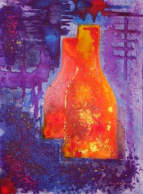 Complementary Painting - My Old Wine Bottles by Mario Perez