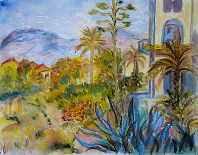 My Rendition Of Villas At Bordighera Print by Donna Walsh