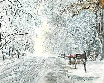 Snow Storm Drawing - My Slippery Street  by Carol Wisniewski