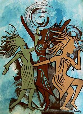 Contemporary Tribal Art Painting - My Spirit Dances by Jean Fry