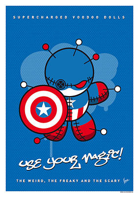 Super Powers Digital Art - My Supercharged Voodoo Dolls Captain America by Chungkong Art