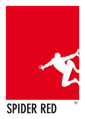 Minimalist Digital Art - My Superhero 04 Spider Red Minimal Poster by Chungkong Art