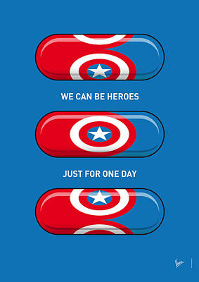 Comic Books Digital Art - My Superhero Pills - Captain America by Chungkong Art