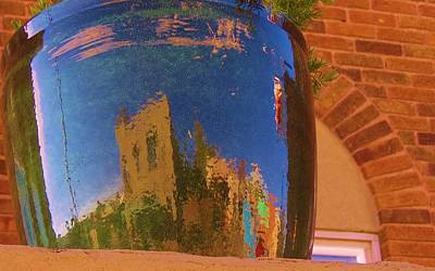 My Town Reflected In A Blue Pot Print by Feva  Fotos