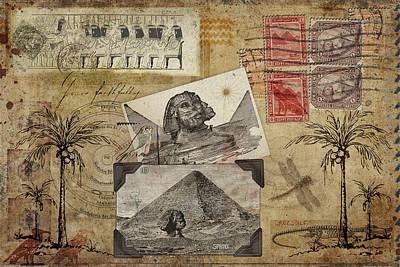 Mysterious Digital Art - My Trip To Egypt 1914 by Carol Leigh