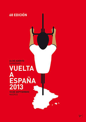 Cycling Digital Art - My Vuelta A Espana Minimal Poster - 2013 by Chungkong Art