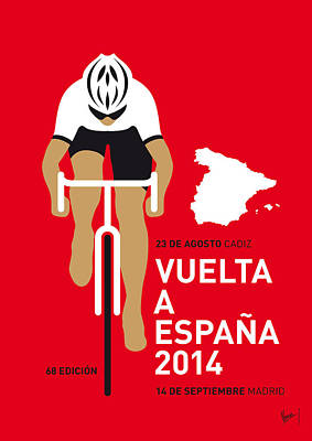 Cycling Digital Art - My Vuelta A Espana Minimal Poster 2014 by Chungkong Art