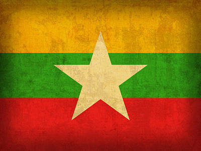 Myanmar Mixed Media - Myanmar Burma Flag Vintage Distressed Finish by Design Turnpike