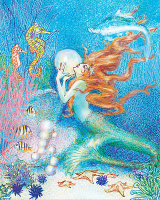 Shell Pastel Painting - Mysitcal Mermaid In Blue by Kat Walker