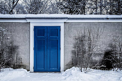 Mysterious Blue Door On Wall Print by Edward Fielding