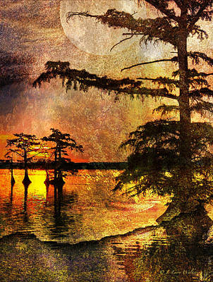 Mystery Sunrise With Moon Print by J Larry Walker