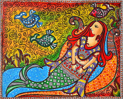 Madhubani Painting - Mystic Mermaid by Deepti Mittal