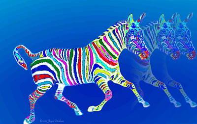 Friendly Digital Art - Mystical Zebra On Blue by Joyce Dickens