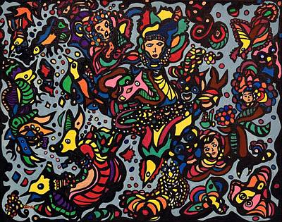 Outsider Painting - Mystics Of The Sea by Sally Barnard