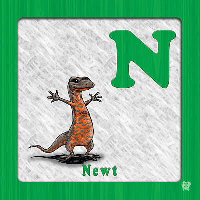 Newts Drawing - N For Newt by Jason Meents