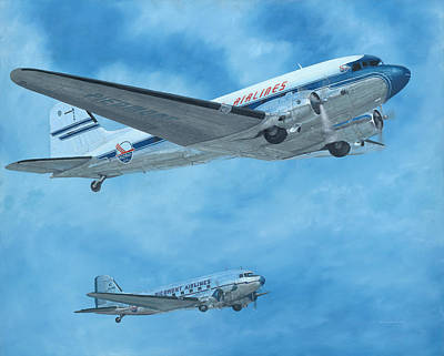 Airliners Painting - N Four Four V  Past And Present by David Rawlins