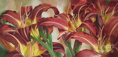 Burnt Orange Painting - Nadine's Lilies by Sharon Freeman