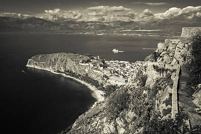 Nafplio Peninsula Sepia Print by David Waldo