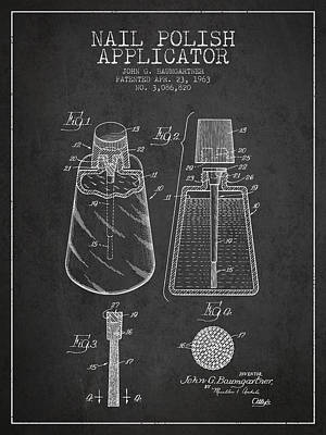 Technical Drawing - Nail Polish Applicator Patent From 1963 - Dark by Aged Pixel