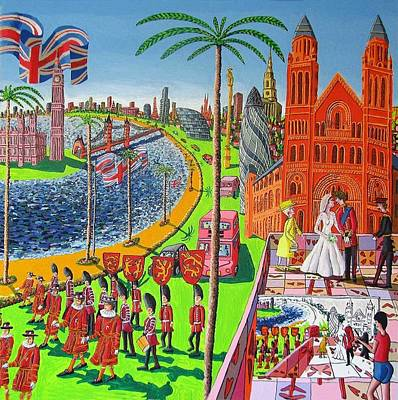 Kate Middleton Painting - Naive Painting Of The Wedding Of Prince William And Kate Middleton by Raphael Perez