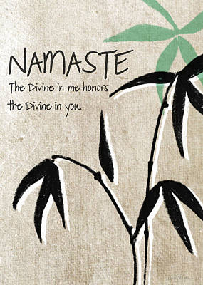 Bamboo Painting - Namaste Greeting Card by Linda Woods