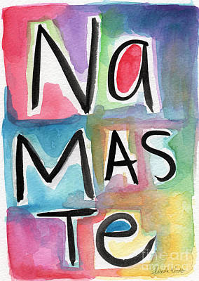 Namaste Painting - Namaste Watercolor by Linda Woods