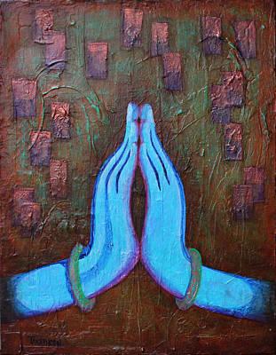 Iridescent Mixed Media - Namaste With Peace by Amy Tanathorn